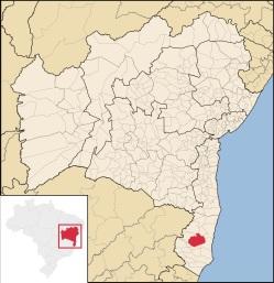 5 de Outubro - Mapa de localização — Itamaraju (BA) — 56 Anos em 2017.