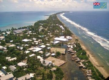 Cidade de Funafuti, capital de Tuvalu.