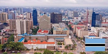 Cidade de Gaborone, capital de Botswana.